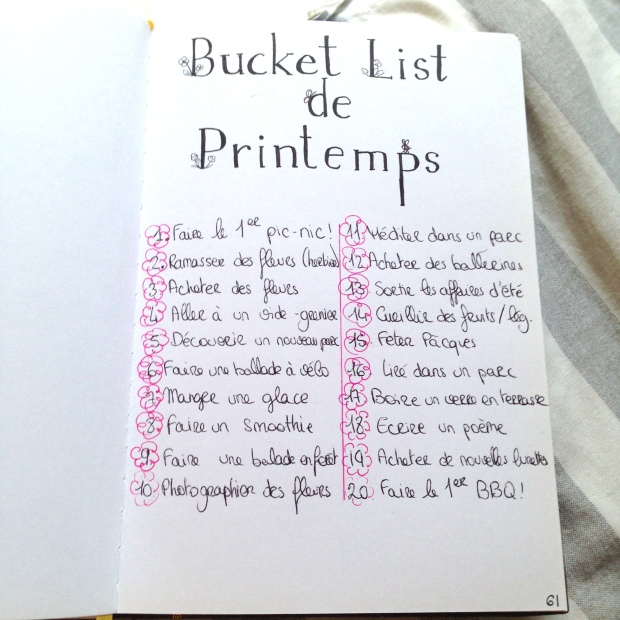 Bucket List Printemps